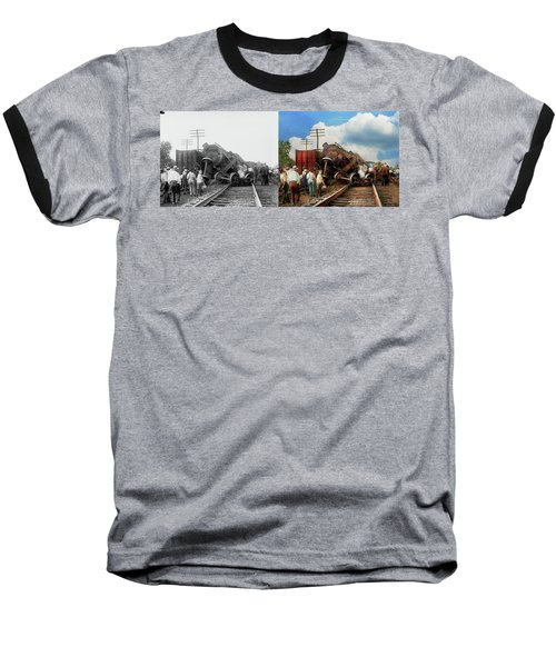 Baseball T-Shirt featuring the photograph Train - Accident - Butting Heads 1922 - Side By Side by Mike Savad