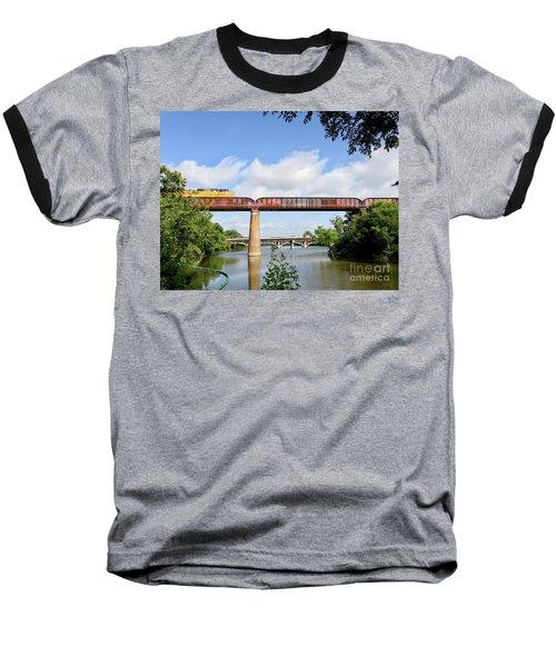 Train Across Lady Bird Lake Baseball T-Shirt by Felipe Adan Lerma