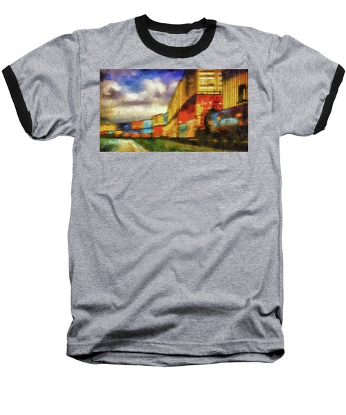 Train Freight Cars Baseball T-Shirt by Joseph Hollingsworth