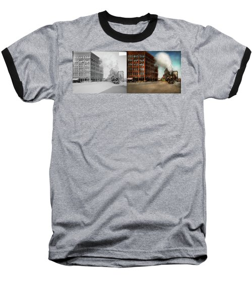 Baseball T-Shirt featuring the photograph Train - Respect The Train 1905 - Side By Side by Mike Savad