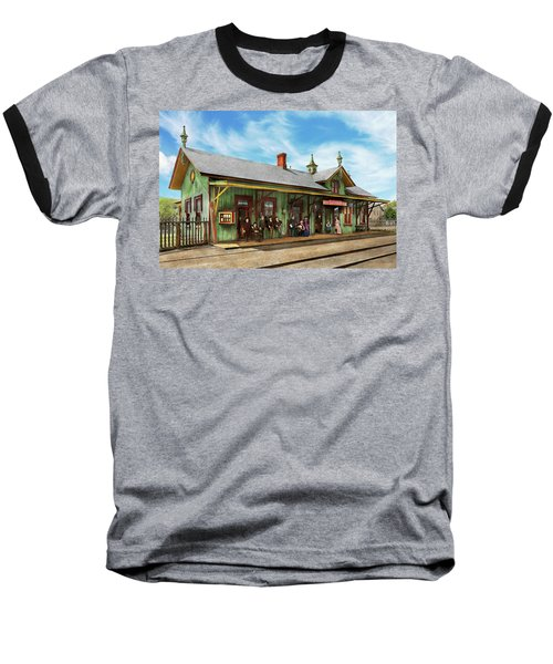 Baseball T-Shirt featuring the photograph Train Station - Garrison Train Station 1880 by Mike Savad