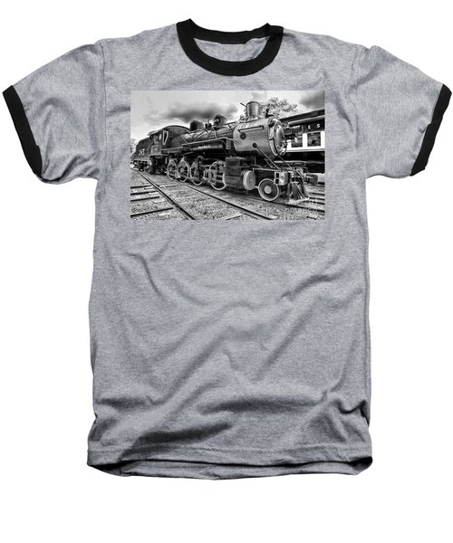 Train - Steam Engine Locomotive 385 In Black And White Baseball T-Shirt