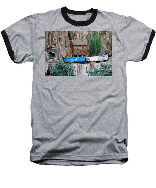 Baseball T-Shirt featuring the painting Train Train Take Me Out Of This Town by Robert Pearson