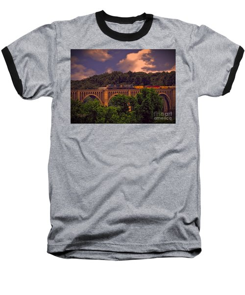 Baseball T-Shirt featuring the photograph Train Trestle Over The James by Melissa Messick