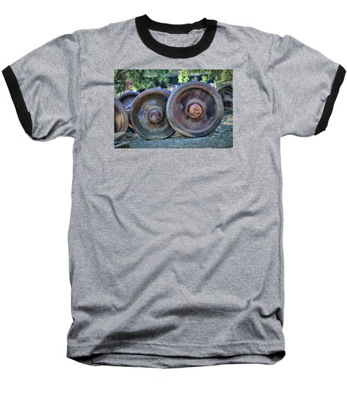 Train Wheels Baseball T-Shirt by Steve Siri