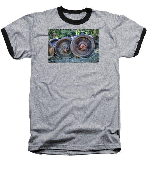 Baseball T-Shirt featuring the photograph Train Wheels by Steve Siri