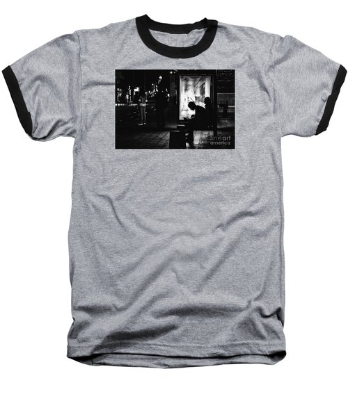 Baseball T-Shirt featuring the photograph Tram Station Silhouettes by Jivko Nakev