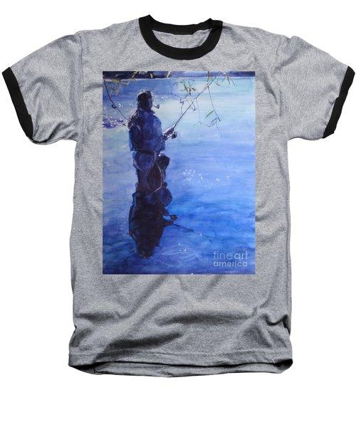 Tranquil Fishing Baseball T-Shirt by Greta Corens