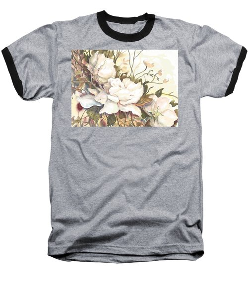 Tranquility Study In White Baseball T-Shirt