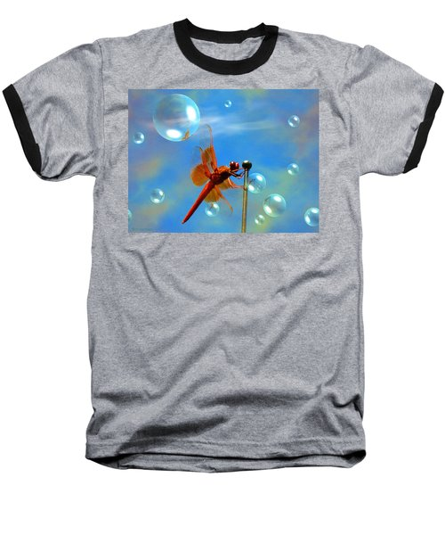 Transparent Red Dragonfly Baseball T-Shirt by Joyce Dickens