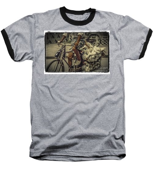 Baseball T-Shirt featuring the photograph Transport By Bicycle In China by Heiko Koehrer-Wagner