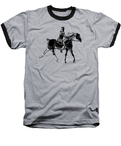 Baseball T-Shirt featuring the drawing Traveler by Mary Armstrong