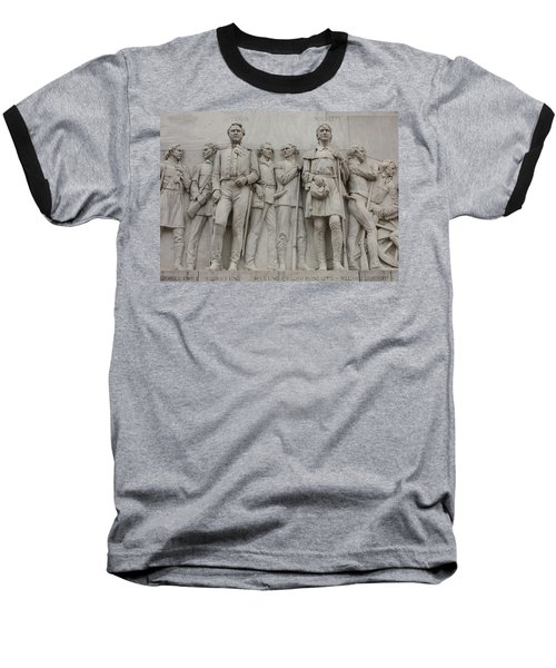 Travis And Crockett On Alamo Monument Baseball T-Shirt