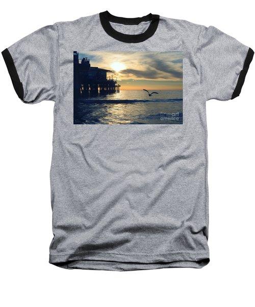 Seagull Pier Sunrise Seascape C1 Baseball T-Shirt