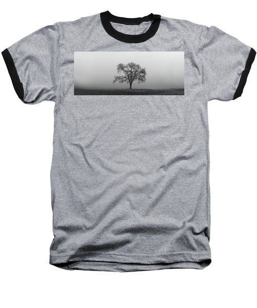 Baseball T-Shirt featuring the photograph Tree Alone In The Fog by Todd Aaron