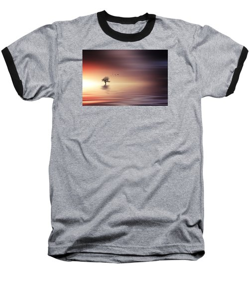 Tree And Birds On Lake Sunset Baseball T-Shirt