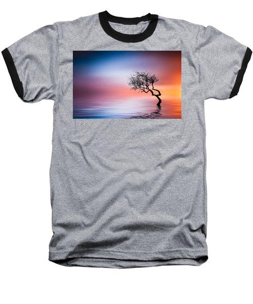 Tree At Lake Baseball T-Shirt by Bess Hamiti