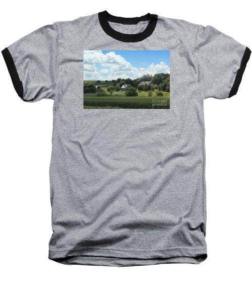 Baseball T-Shirt featuring the photograph Three Barns by Yumi Johnson