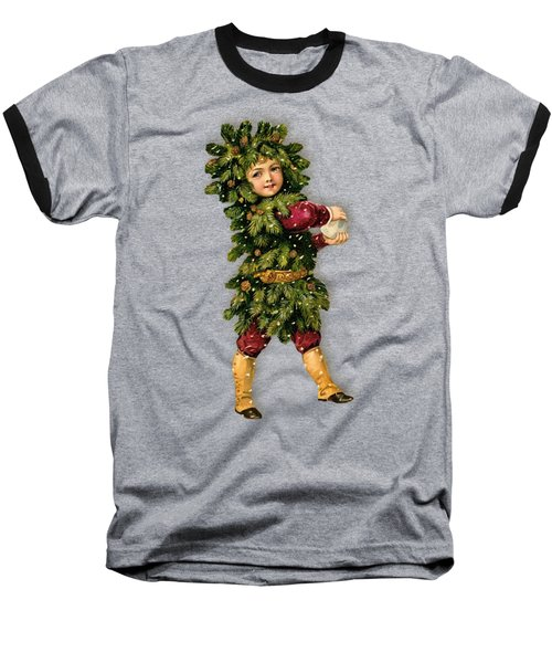 Tree Child Vintage Christmas Image Baseball T-Shirt by R Muirhead Art