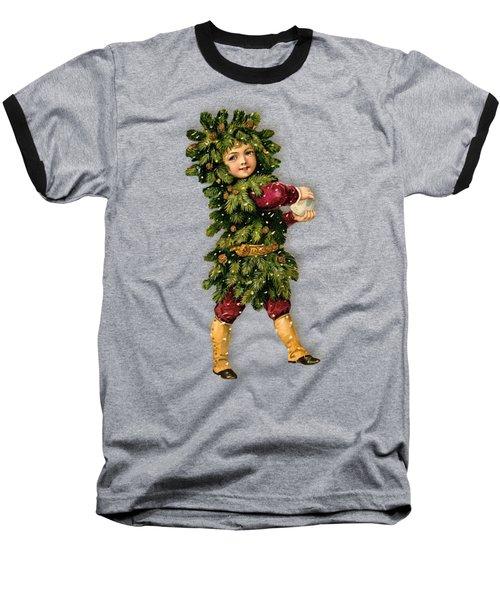 Tree Child Vintage Christmas Image Baseball T-Shirt