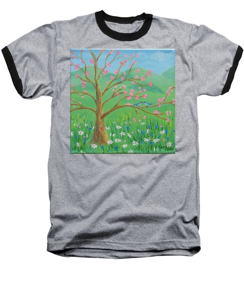 Baseball T-Shirt featuring the painting Tree For Two by Nancy Nale