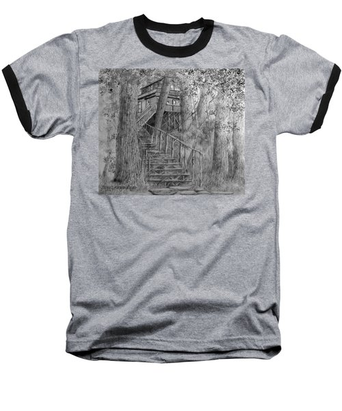 Baseball T-Shirt featuring the drawing Tree House #1 by Jim Hubbard