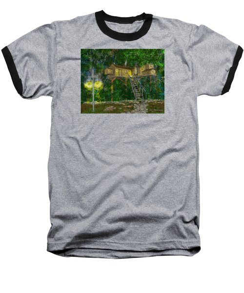 Baseball T-Shirt featuring the drawing Tree House #10 by Jim Hubbard