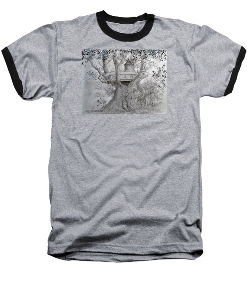 Baseball T-Shirt featuring the drawing Tree House #2 by Jim Hubbard