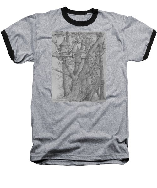 Baseball T-Shirt featuring the drawing Tree House #3 by Jim Hubbard