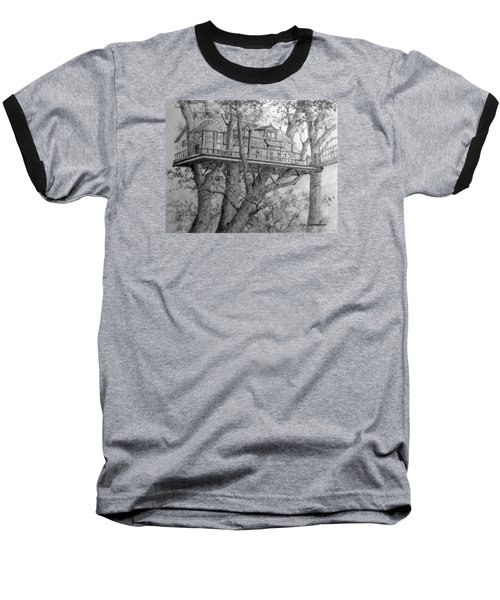 Baseball T-Shirt featuring the drawing Tree House #4 by Jim Hubbard