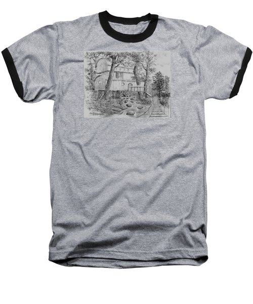 Baseball T-Shirt featuring the drawing Tree House #5 by Jim Hubbard