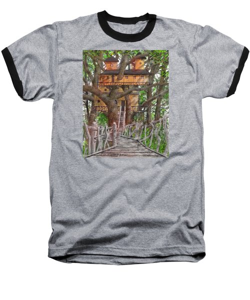 Baseball T-Shirt featuring the drawing Tree House #6 by Jim Hubbard