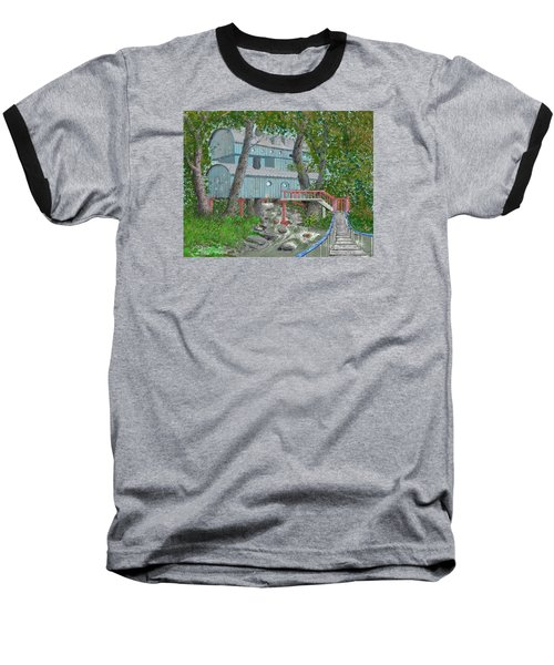 Baseball T-Shirt featuring the drawing Tree House Digital Version by Jim Hubbard