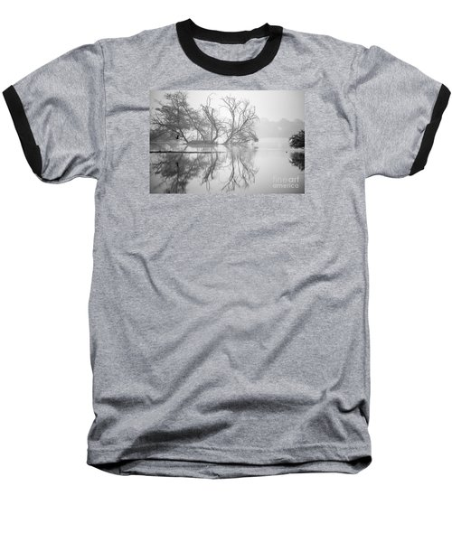 Tree In A Lake Baseball T-Shirt by Pravine Chester
