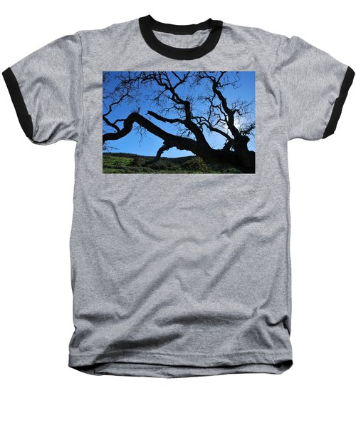 Tree In Rural Hills - Silhouette View Baseball T-Shirt