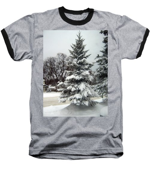 Tree In Snow Baseball T-Shirt