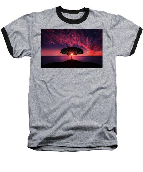 Tree In Sunset Baseball T-Shirt