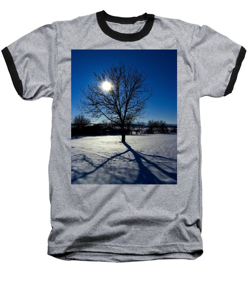 Tree Into Sun On A Winter Snowy Afternoon Baseball T-Shirt