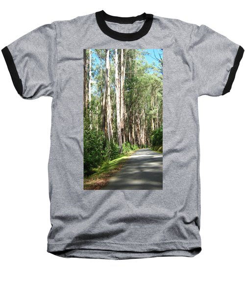 Tree Lined Mountain Road Baseball T-Shirt
