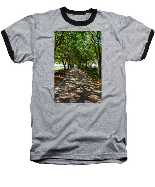 Tree Lined Path Baseball T-Shirt by Debra Martz