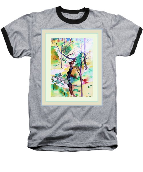 Baseball T-Shirt featuring the painting Tree Lovers by Mindy Newman