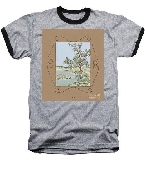 Tree Mirror In Lake Baseball T-Shirt
