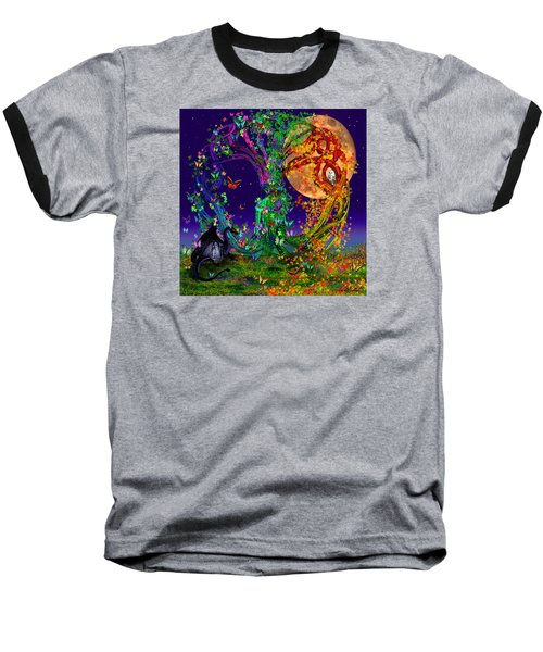 Tree Of Life With Owl And Dragon Baseball T-Shirt by Michele Avanti