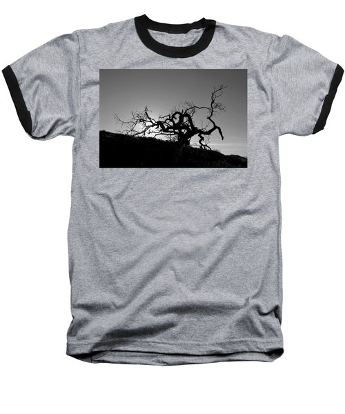 Tree Of Light Silhouette Hillside - Black And White  Baseball T-Shirt