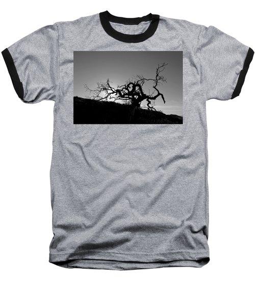 Tree Of Light Silhouette Hillside - Black And White  Baseball T-Shirt