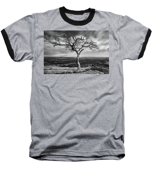 Tree On Enchanted Rock In Black And White Baseball T-Shirt