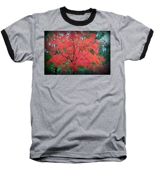 Baseball T-Shirt featuring the photograph Tree On Fire by AJ Schibig