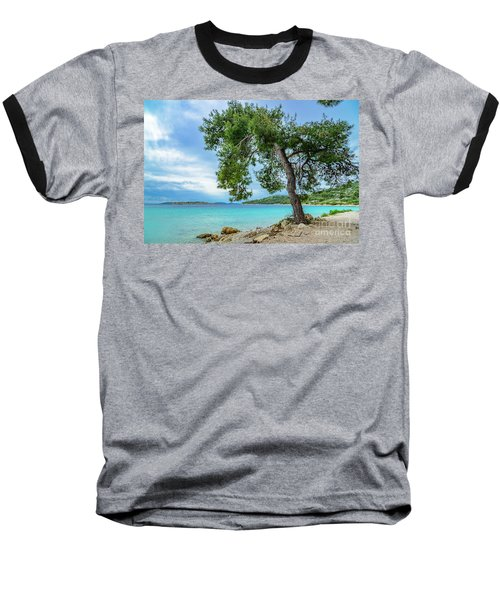 Tree On Northern Dalmatian Coast Beach, Croatia Baseball T-Shirt