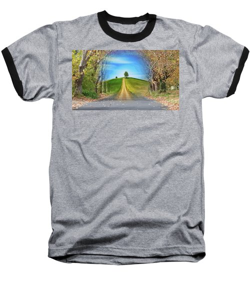 Tree On The Hill Montage Baseball T-Shirt