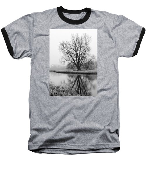 Tree Reflection In The Fox River On A Foggy Day Baseball T-Shirt